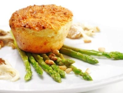 Savoury cake with asparagus and salmon